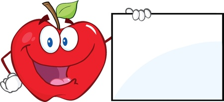 Happy Apple Cartoon Character Showing A Blank Sign Vector