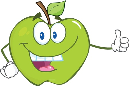 green smiley face: Smiling Green Apple Cartoon Mascot Character Holding A Thumb Up