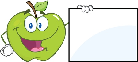 Happy Green Apple Cartoon Character Showing A Blank Sign Vector