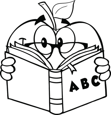 outlined isolated: Black And White Apple Teacher Character Reading A Book