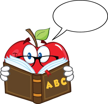 Smiling Apple Teacher Character Reading A Book With Speech Bubble Stock Vector - 21983985