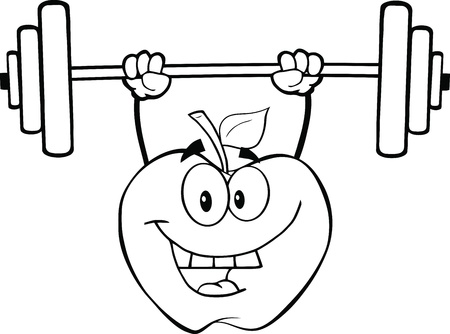 black and white image: Black And White Apple Cartoon Character Lifting Weights Illustration