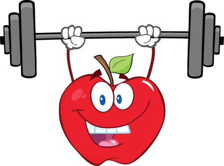 lifting weights: Smiling Apple Cartoon Character Lifting Weights Illustration