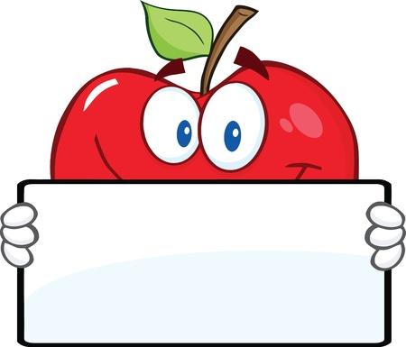 diet cartoon: Smiling Red Apple Character Holding A Banner Illustration