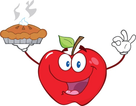red apple: Happy Red Apple Character Holding Up A Pie