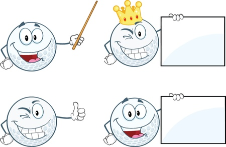 Golf Balls Cartoon Characters  Set Collection Vector