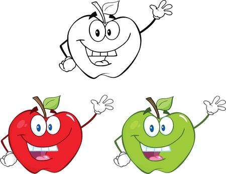 green apple isolated: Apples Cartoon Mascot Characters  Set Collection Illustration