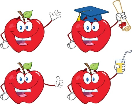 Apples Cartoon Mascot Characters  Set Collection Vector