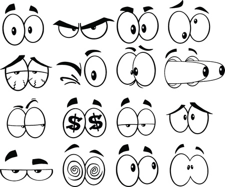 communication cartoon: Black and White Cartoon Funny Eyes  Set Collection