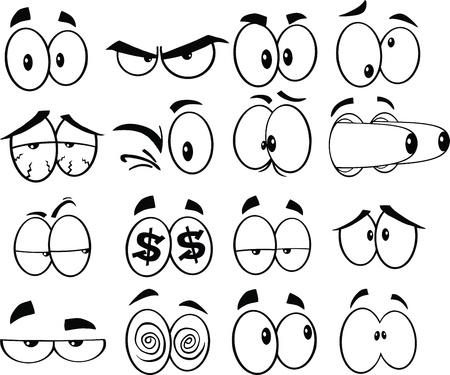 Schwarz und weiß Karikatur lustige Augen Set Sammlung Illustration