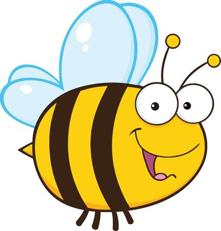 abeja caricatura: Abeja linda mascota de dibujos animados de caracteres