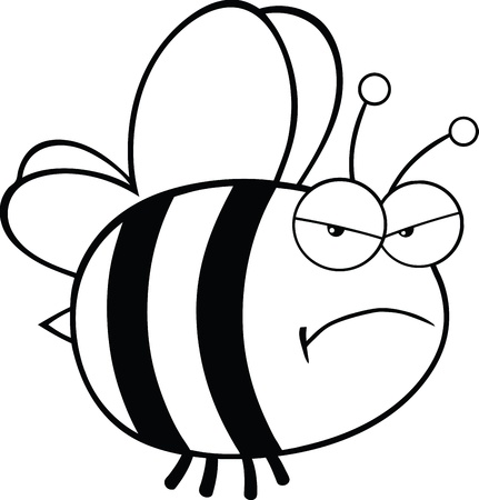 pollinator: Black and White Angry Bee Cartoon Mascot Character Illustration