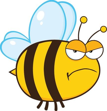 bee: Злой Bee характера талисмана шаржа Иллюстрация