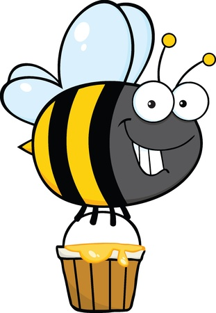 Smiling Cute Bee Cartoon Character Flying With A Honey Bucket Ilustração