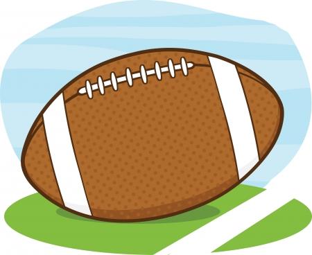 American Football Ball On Field Cartoon Illustration Vector