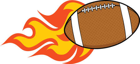 pigskin: Flaming American Football Ball Cartoon Illustration Illustration