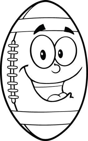 Black And White American Football Ball Cartoon Mascot Character Vector