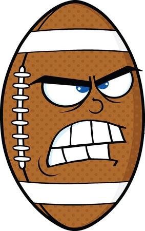 Angry American Football Ball Cartoon Mascot Character Vector