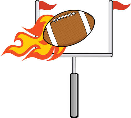 pigskin: Flaming American Football Ball With Goal Illustration