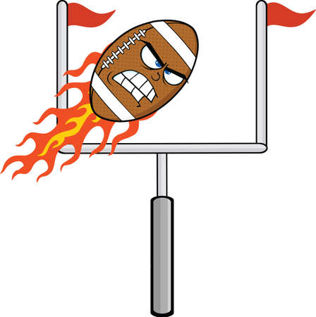 Angry Flaming American Football Ball Cartoon Character With Goal Vector