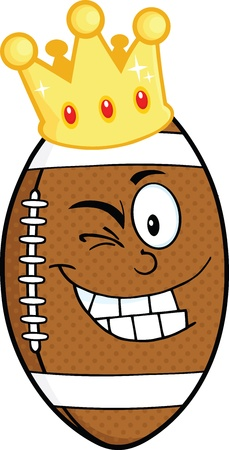 drawings image: Happy American Football Ball Cartoon Character With Gold Crown Winking Illustration