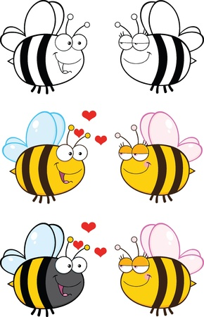 Cute Bee Cartoon Mascot Characters  Set Raster Collection 6