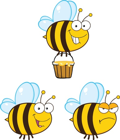 Cute Bee Cartoon Mascot Characters  Set Raster Collection 5