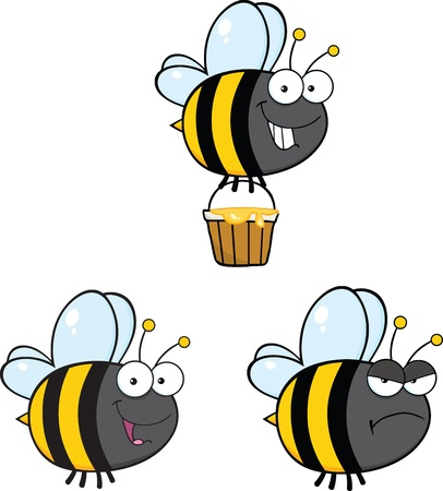 Cute Bee Cartoon Mascot Characters  Set Raster Collection 4 Vector