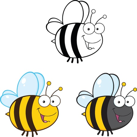 abeja reina: Abeja linda de la historieta Caracteres Mascota Set Collection Raster 3