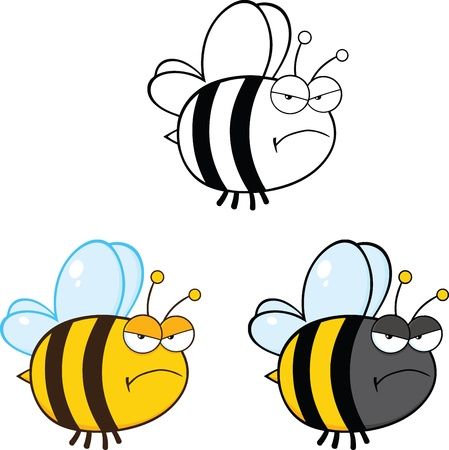 Cute Bee Cartoon Mascot Characters  Set Raster Collection 2 Vector