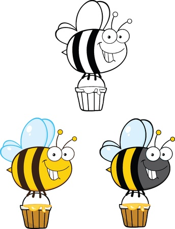 Cute Bee Cartoon Mascot Characters  Set Collection 1 Vector