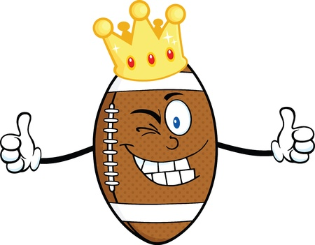 American Football Ball Cartoon Character With Gold Crown Winking And Giving A Double Thumbs Up Vector