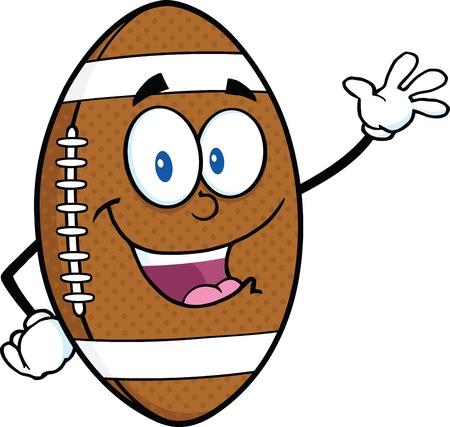 American Football Ball Cartoon Mascot Character Waving For Greeting Vector