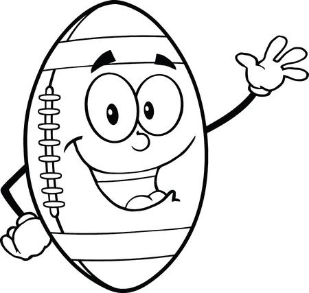 Black And White American Football Ball Cartoon Mascot Character Waving For Greeting Vector