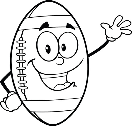 Black And White American Football Ball Cartoon Mascot Character Waving For Greeting