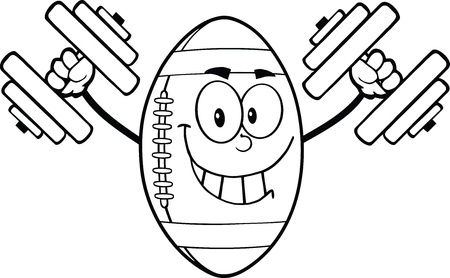 Black And White Smiling American Football Ball Character Training With Dumbbells Vector