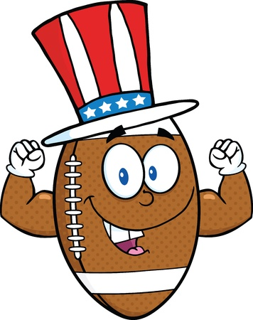 American Football Ball Cartoon Character With Patriotic Hat Showing Muscle Arms Vector