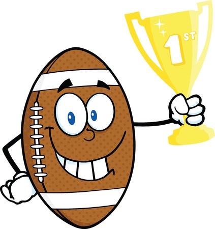 primer premio: F�tbol americano bola mascota de la historieta Car�cter sostiene Primer Premio Trofeo de la Copa Vectores