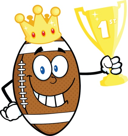 American Football Ball Character With Golden Crown Holding First Prize Trophy Cup Vector