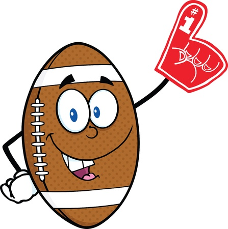 American Football Ball Cartoon Mascot Character With Foam Finger Çizim