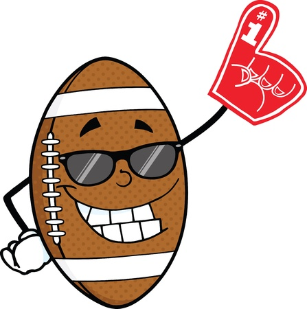 Smiling American Football Ball With Sunglasses Holding A Foam Finger