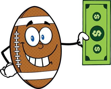 Smiling American Football Ball Cartoon Character Showing A Dollar Bill Vector