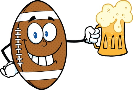 Smiling American Football Ball Cartoon Character Holding A Beer