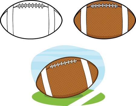 American Football Balls  Collection Set 1 Vector