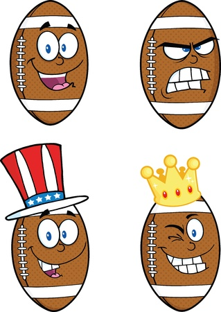American Football Balls Cartoon Mascot Characters  Collection Set 6 Vector