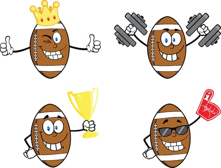 American Football Balls Cartoon Mascot Characters  Collection Set 2