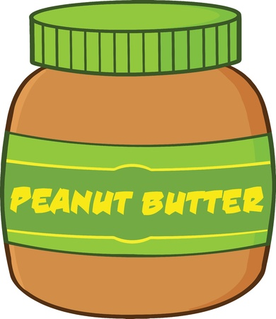 butter: Peanut Butter Jar Cartoon Illustration Illustration
