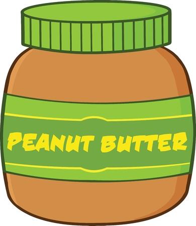 jarra: Peanut Butter Jar Ilustraci�n de dibujos animados Vectores