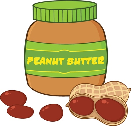Peanut Butter Jar With Peanuts Cartoon Illustration 일러스트