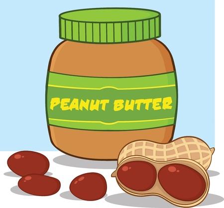 open sandwich: Cartoon Peanut Butter Jar With Peanuts